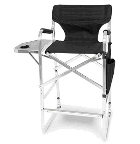 Aluminum 30 Inch Bar Height Directors Chair With Table U0026 Side Bag