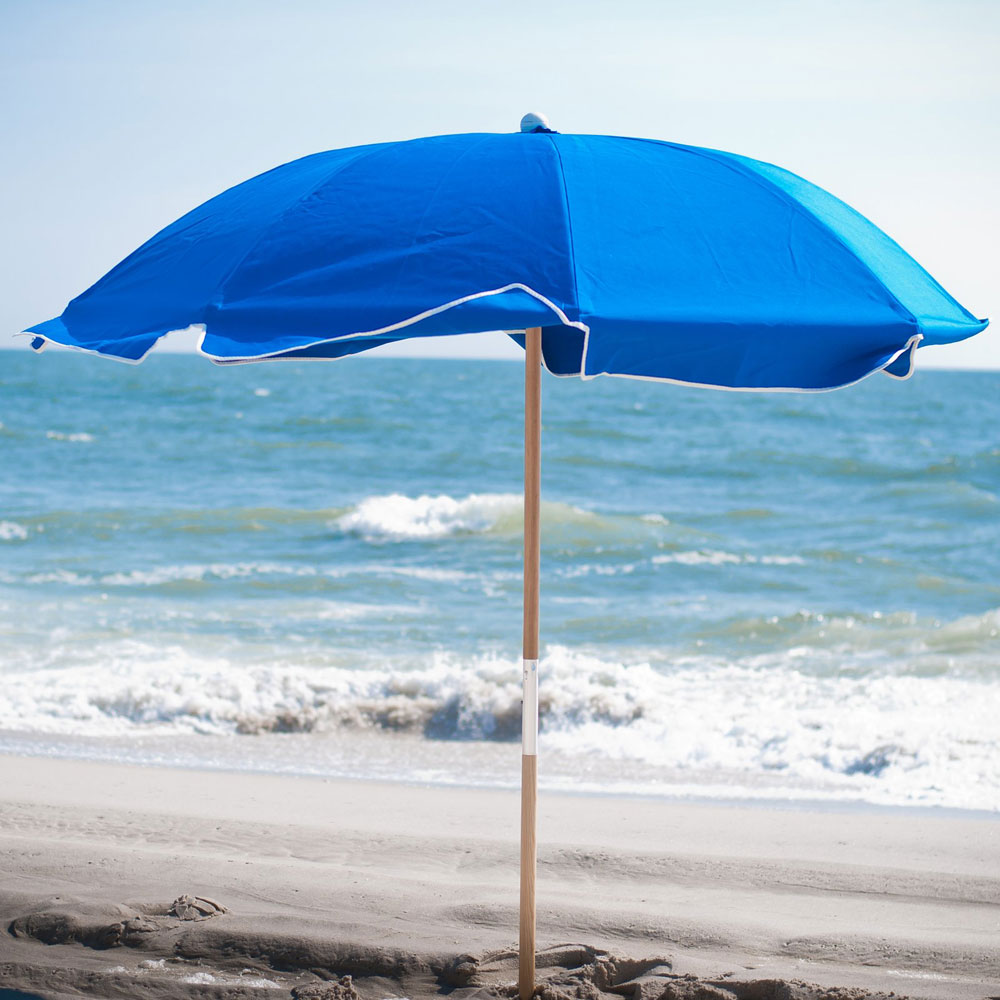 Fibergl Rib Commercial Beach Umbrella With Wood Or Aluminum Pole Touch To Zoom