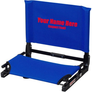 IMPRINTED Personalized NEW Stadium Chair Gamechanger Bleacher Seat with Optional Arms