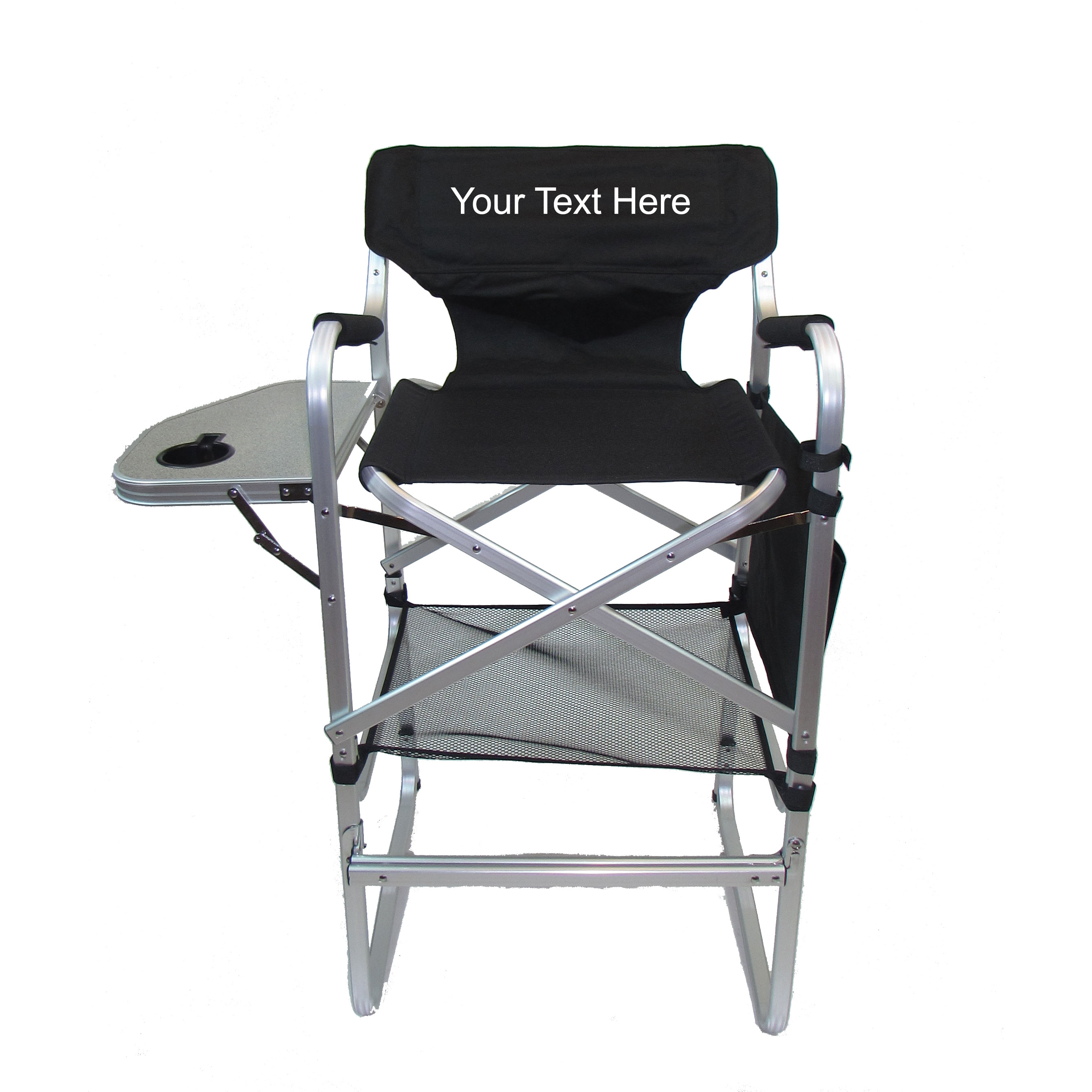"IMPRINTED Personalized Aluminum 30"" Bar Height Directors Chair with Table & Side Bag"