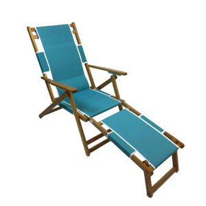 RETURN: Frankford Oak Beach Chair with Detachable Legrest - Turquoise