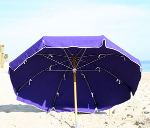 Canvas 7 1/2' Metal Frame Beach Umbrella with Wood Pole