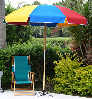 Canvas 7 1/2' Fiberlite Frame Beach Umbrella with Wood Pole