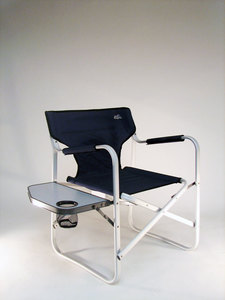 RIO Captain's Perch Collapsible Aluminum Chair w/ Folding Side Table
