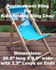 Kid's Folding Sling Chair Replacement Sling - Personalization Available